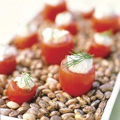 Creamy Lemon-Dill Dip  - CountryLiving.com ( I love the idea of standing the tomatoes in a dish of dried beans)