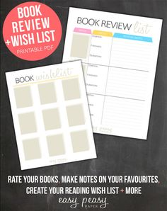 Book Review Reading Log and Book Wish List por IndigoPrintables