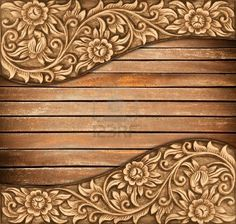 Pattern of wood frame carve flower on wood background Stock Photo
