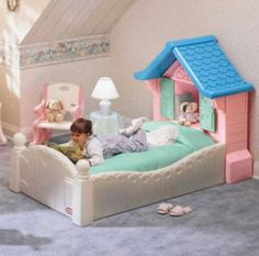 Little tikes toddler bed-A child bed is a small bed that uses a crib mattress and serves as a transition for toddlers from a crib to a regular bed. Little Cozy Cottage, Cottage Homes, Toddler Toys, Toddler Bed, Zoe S, Little Tikes, Pink Bedding, Crib Mattress, House Beds