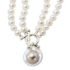 Sterling Silver 16in 2-strand 8-9mm Freshwater Cultured Pearl/Pearl Disc Necklace