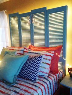Diy Shutter Headboard My Dad Made This For Me And I Hot Glued Initals To It So In Love Christmas Light