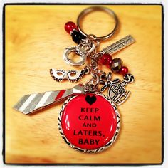 50 Shades Of Grey Inspired Key Chain-Keep Calm And Laters Baby Key Chain With Neck tie And Jewel. $14.50, via Etsy.