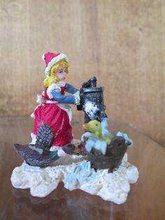 Christmas Village Figure ~ SPLASHING DUCKS ~ Vintage Carole Towne Lemax Dept. 56