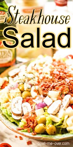 Green Salad Recipes, Best Salad Recipes, Steak House Salad Recipe, Best Salads Ever, Pasta Puttanesca, Food And Thought, Main Dish Salads, Cheese Salad, Chopped Salad