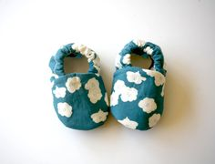 Poppies in Blue Organic Baby Girl Handmade 0 3 6 12 18 months Floral Print Shoes  Eco Friendly Children Clothing via Etsy