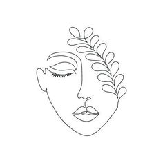 Illustration of Woman on white background.One line drawing style. vector art, clipart and stock vectors. Minimalist Drawing, Minimalist Art, Art Drawings Sketches, Easy Drawings, Tattoo Sketches, Tattoo Drawings, Simple Line Drawings, Face Line Drawing, Drawing Style