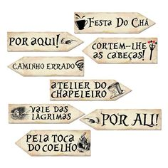 Kit Placas Clássicas Lugares Alice c/ 08 unidades Alice In Wonderland Tea Party Birthday, Alice In Wonderland Costume, Fiesta Party, Casino Party, Party Gifts, Sweet 16, Party Time, Birthday Parties, Lettering