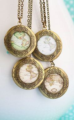 Necklace Map Locket Necklace Gift For Traveler