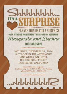 surprise wedding anniversary beautiful invitations feature the words shh its a surprise great templates for 60th 50th 40th 30th 25th