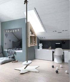 Children's room under the roof. - Children's room design - Children's room under the roof. – Children's room design - Attic Rooms, Attic Spaces, Kid Spaces, Kids Room Design, Home Design, Interior Design, Design Ideas, Design Design, Interior Ideas