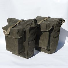 CarSick panniers waxed canvas