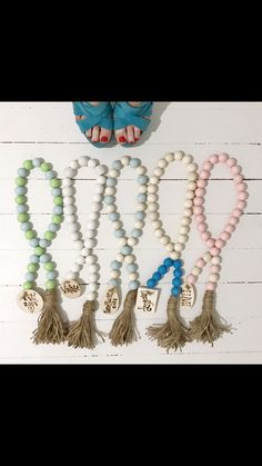 Wood bead garland!  The BoHo beads are like accessories for your home! They come with a personalized wood charm. Check out my Instagram @thebohobeads to order!