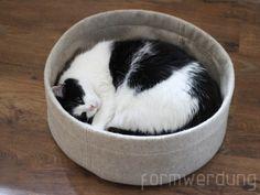 Tierbedarf - Katzenbett aus Wollfilz mit Kissen - ein Designerstück von formwerdung bei DaWanda