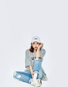 [OLDMICKEY]カジュアルクラッシュ加工デニムパンツ/韓国ファッション/シンプルコーデ|OLDMICKEY-オールドミッキー