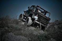 My jeep at the top of a hill climb.