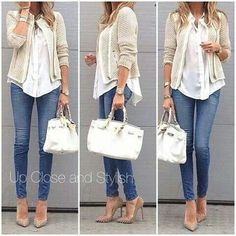 Outfit: blue jeans,  white shirt, beige cardigan and white bag