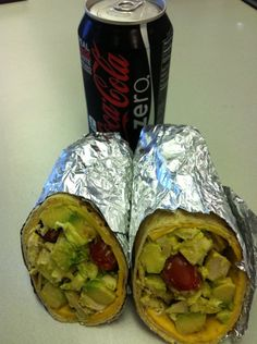 Rotisserie chicken breast, avocado, cherry tomatoes, slice of reduced fat cheddar. Sauce is 1 tbsp of lite mayo and 1 tbsp of mustard - pinch of salt and pepper... Rolled up in a low carb high fiber tortilla