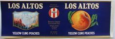 LOS ALTOS Vintage Oakland Peach Can Label