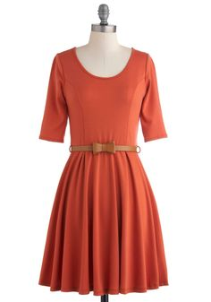 For Many Sunsets Dress - Orange, Solid, Casual, A-line, 3/4 Sleeve, Fall, Belted, Mid-length, Bows, Work