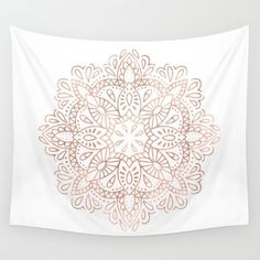 Rose Gold mandala flower pink spiritual hippy hippy white and pink gold pastel metallic pattern.