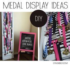 Three home made options for displaying medals and awards at home. Award Display, Display Ideas, Medal Displays, Diy Shutters, Fun Projects, Gymnastics, Ladder Decor, Awards, Softball