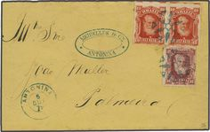 Brazil 80 r. lake and horizontal pair of 10 r. vermilion, used on delightful 1879 cover from Antonina to Palmeira, cancelled by fancy 'propellor' c...