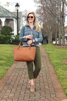 Olive pants, gingham shirt, denim jacket