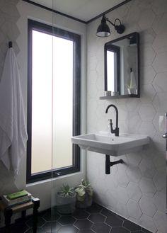 A Modern Mosaic Bathroom Update Loft Bathroom, Mosaic Bathroom, Bathroom Windows, Small Bathroom, Bathroom Ideas, Master Bathroom, Bathroom Design Inspiration, Modern Bathroom Design, Bathroom Interior Design