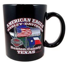 Harley-Davidson Coffee Mug Texas 2005 American Eagle Denton County Black Cup