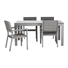 FALSTER Table and 4 armchairs IKEA Polystyrene slats are weather-resistant and easy to care for.