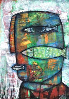 Title: Fishes by Dan Casado (Represented by Outsider Art Gallery) Date: 2012 Medium:  Mixed media Dimensions: 13cm x 18 cm Websites/Links: http://www.outsiderartgallery.net