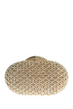 the Nude Face Round Gold Clutch