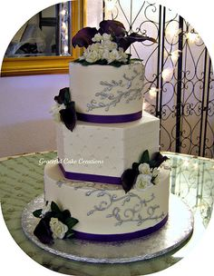 Ivory, Purple and Silver Wedding Cake | Flickr - Photo Sharing!