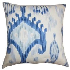 """Present a bold and refreshing design in your interiors by decorating this ikat throw pillow. The artsy ikat pattern comes in shades of blue and white. This square pillow creates a savvy look in any rooms. Mix and match this 18"""" pillow with other ikat prints from our pillow collection. Fluffy and soft, this 100% cotton-made pillow is made to last for a long time. $55.00"""