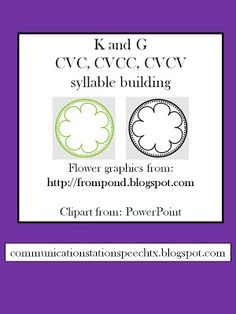 Communication Station: Speech Therapy PLLC: Freebie Friday: K and G CVC, CVCC, CVCV word building!