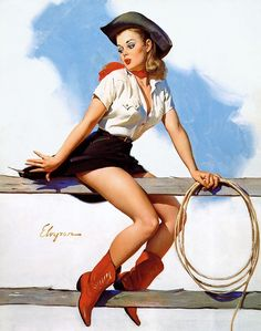 Cowgirl vintage pin up girl - Gil Elvgren Pin Up Vintage, Retro Pin Up, Cowgirl Vintage, Cowboy And Cowgirl, Retro Art, Cowgirl Boots, Vintage Style, Cowboy Chic, Sexy Cowgirl
