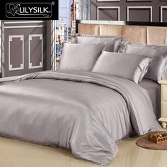 Bed Linen And Curtain Sets Product Grey Bed Sheets, Silk Bed Sheets, Luxury Bed Sheets, Silk Bedding, Luxury Bedding, Bedding Sets, Luxury Duvet Covers, Bed Linen Design, Queen