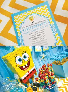 Fantastic Spongebob Squarepants Birthday Party // Hostess with the Mostess® Summer Birthday, 6th Birthday Parties, 7th Birthday, Birthday Ideas, Spongebob Birthday Party, Party Themes, Party Ideas, Birthday Party Invitations, Party Planning