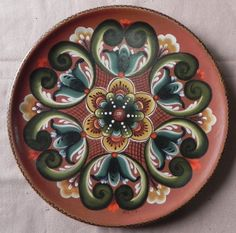 Rosemaling Platter by Wanda Baldwin (1977)