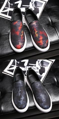 US $34 Exotic Summer Men Loafers Slip-on Gentlemen Moccasins Soft Flat Driving Loafers Boat Driving Shoes Flowers Pattern Red Grey