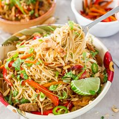 Crockpot Chinese Pork with Noodles – Slow cooked Chinese style pork tenderloin tossed with noodles and veggies.