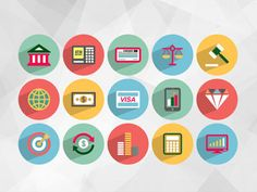 Download Free Flat Finance Icons