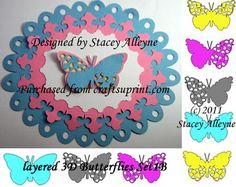 Layered 3D Butterflies Set 1b - Sil - CUP691436_1337   Craftsuprint