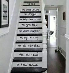 Wonder if hubby would let me do this to the oak stairs, or how it would even look on stairs that turn at the landing.