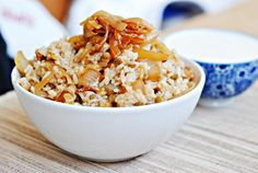 Mujadara with Garlic-Lemon Yogurt...make with quinoa instead of rice!