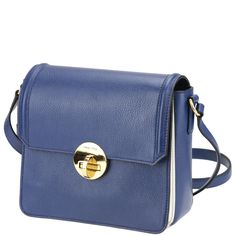 Miu Miu blue small shoulder bag with a white back and a gold buckle. from spring summer 2014. www.wunderl.com