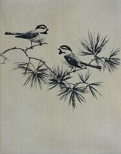 """Hans Kleiber- """"Mountain Chickadees"""" etching - this would be a dope tattoo too"""