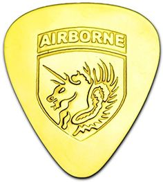 "Unique & Custom [0.38mm Thin Gauge - Traditional Style Semi Tip] Hard Luxury Guitar Pick Made of Genuine Solid Brass w/ 13th Airborne Flaming Horse Shield Design ""Gold Yellow Colored"" {Single Pick} mySimple Products"