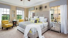 Yellow Master Bedroom Decorating Ideas: 15 Visually Pleasant Yellow And Grey Bedroom Designs Light Yellow Bedrooms, Yellow Master Bedroom, Bedding Master Bedroom, Cozy Bedroom, Bedroom Decor, Bedroom Ideas, Bedroom Windows, Grey Bedding, Dream Bedroom